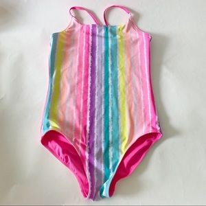 Justice Reversible Striped Pink One-Piece Swimsuit